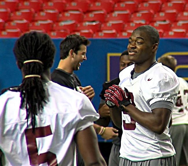 Alabama freshmen Chris Black (No. 5) and Amari Cooper (No. 9) during a walk through in the Georgia Dome.