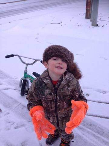 This is FOX 25 Producer Stefanie Harris' son, William, in the snow.