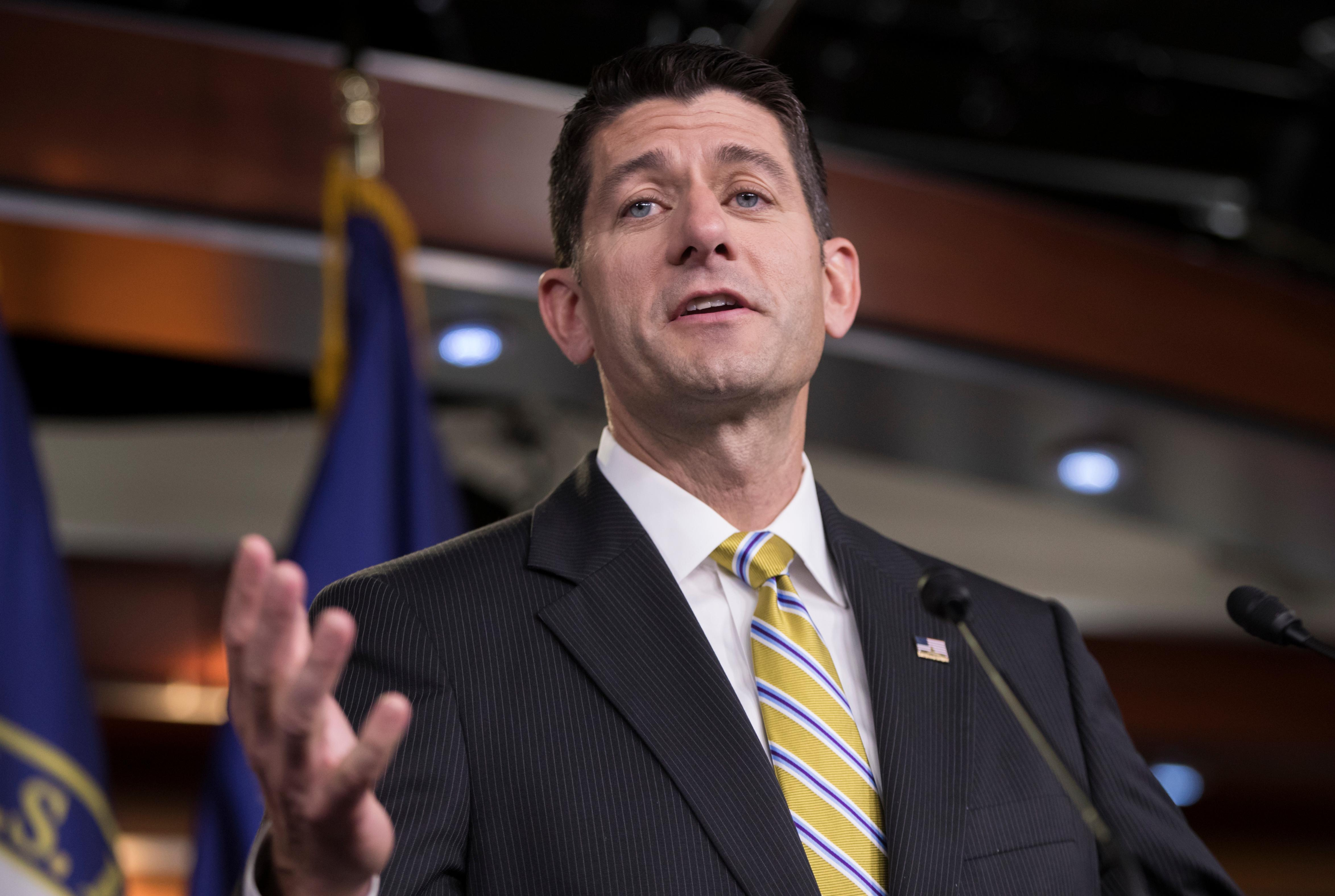 "House Speaker Paul Ryan of Wis. meets with reporters on Capitol Hill in Washington, Thursday, July 27, 2017, as the Republican majority in Congress remains stymied by their inability to fulfill their political promise to repeal and replace ""Obamacare.""  (AP Photo/J. Scott Applewhite)"