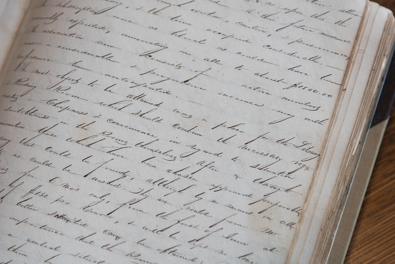 Secretaries of the organization recorded board meetings by hand, listing the topics discussed and who said what. Books of these recorded meetings were preserved and can be seen at the library today. / Image: Phil Armstrong, Cincinnati Refined // Published: 2.7.18<p></p>