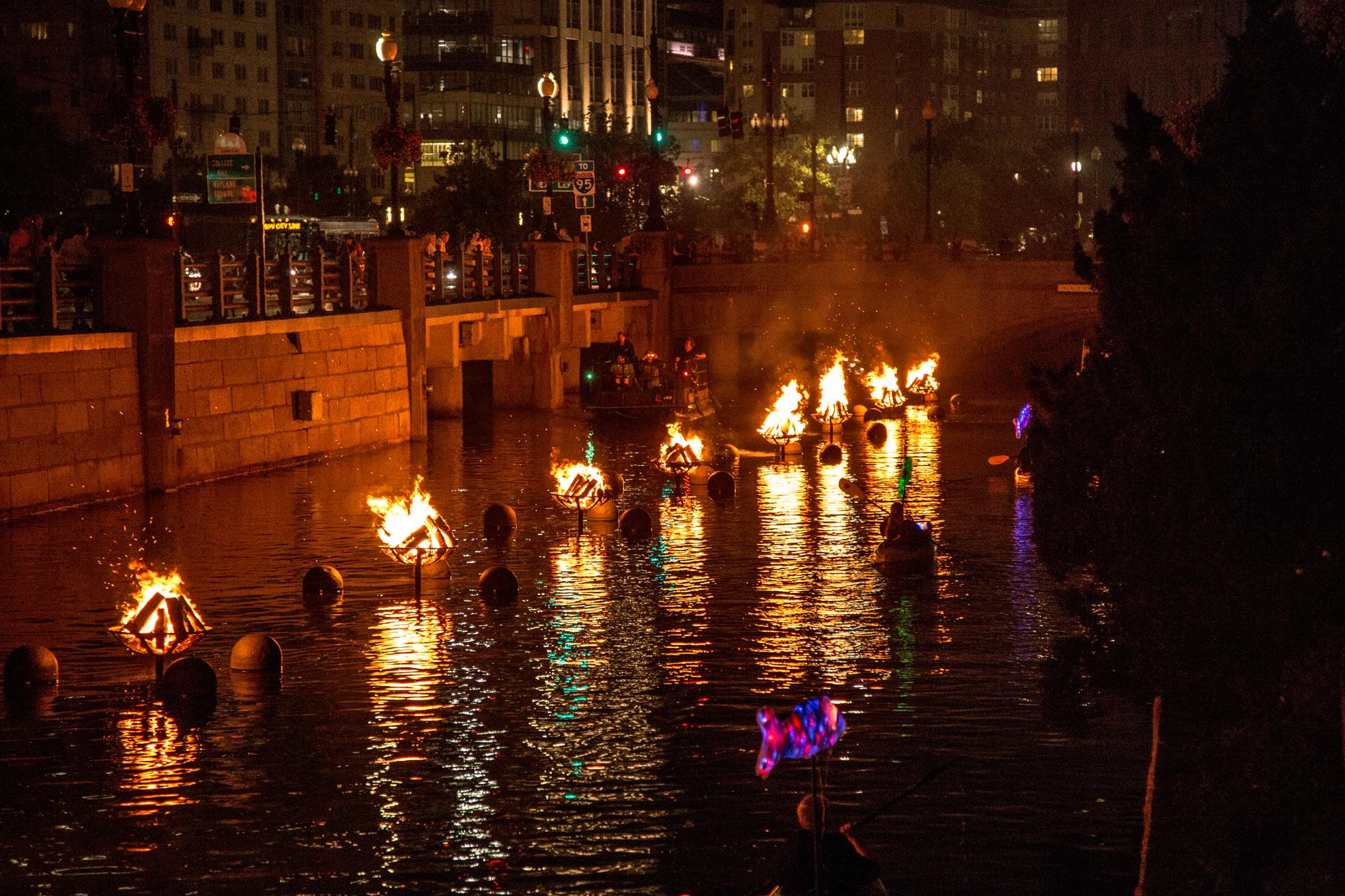Providence's signature event is WaterFire, an award-winning fire sculpture installation on the three rivers in downtown Providence. Created by local artist Barnaby Evans, WaterFire has become a must-see for visitors. (Image: N.Millard/GoProvidence.com)