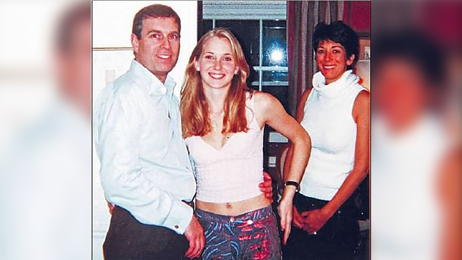 Photograph appearing to show Prince Andrew Duke York with Jeffrey Epstein's accuser Virgina Guifre and alleged madam Ghislaine Maxwell (Florida Southern District Court)