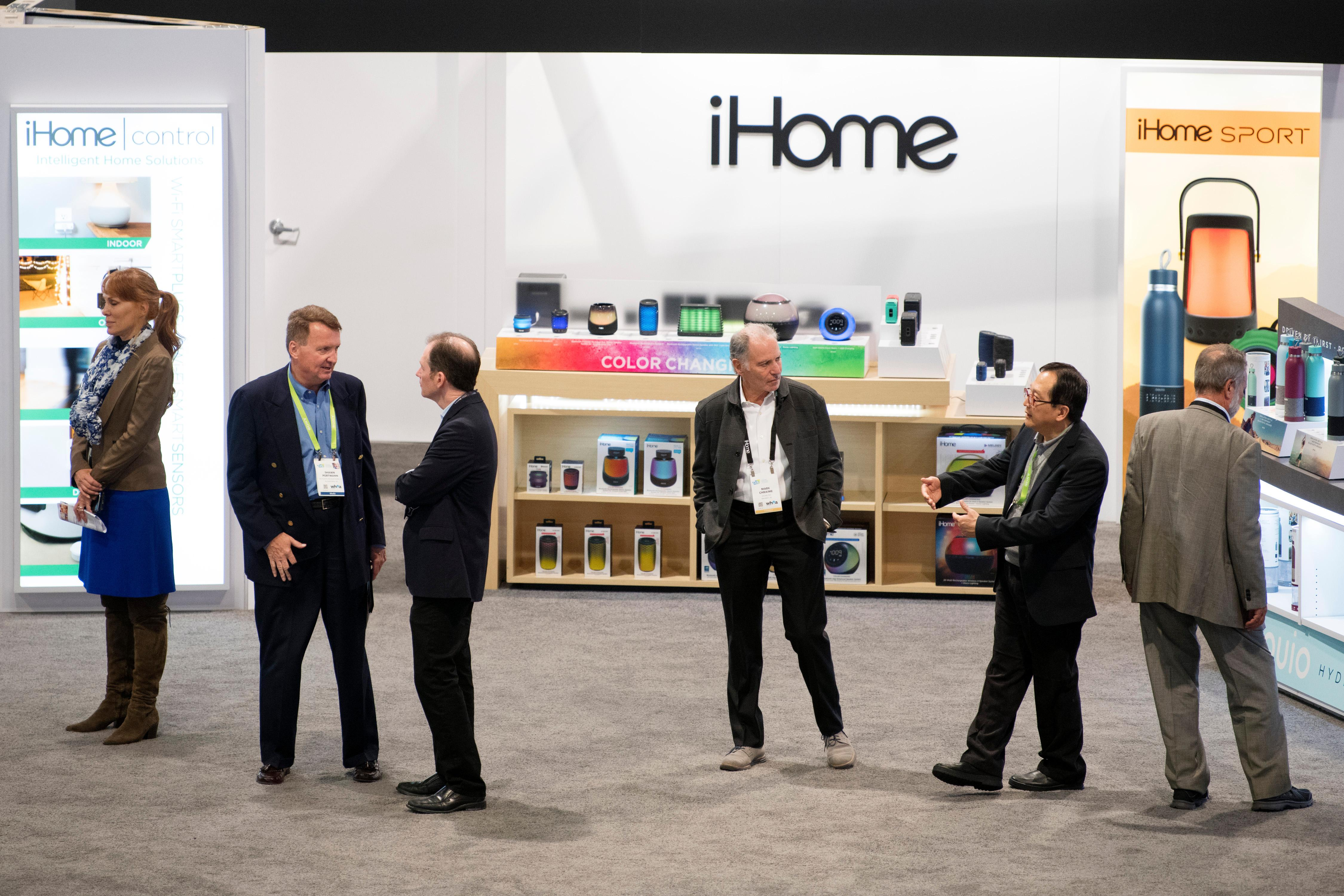 Attendees are seen in the iHome booth during the second day of CES Wednesday, January 10, 2018, at the Las Vegas Convention Center. CREDIT: Sam Morris/Las Vegas News Bureau