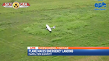Small plane make emergency landing in field near Highway 58