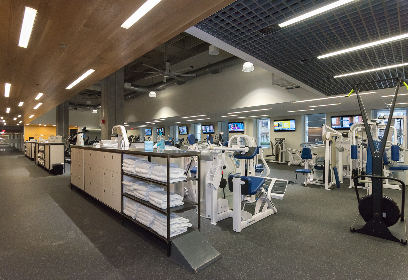 A gym is available for any employee looking to stay fit. / Image: Phil Armstrong, Cincinnati Refined // Published: 5.7.18