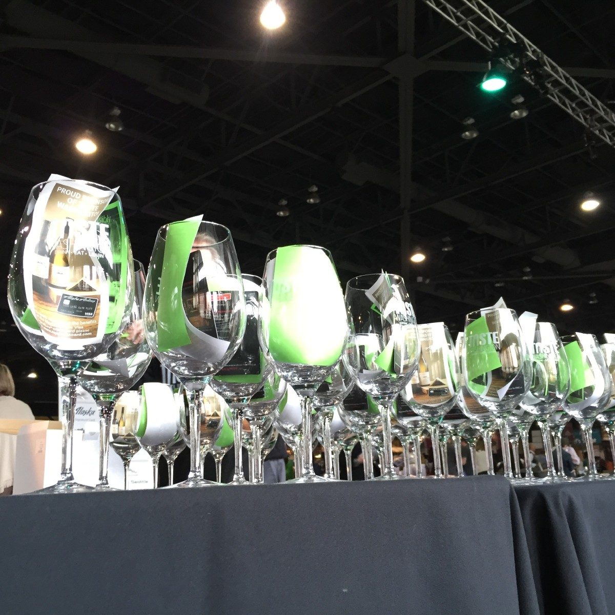 Wine glasses ready and waiting at the entrance of Taste Washington. (Image: Frank Guanco)