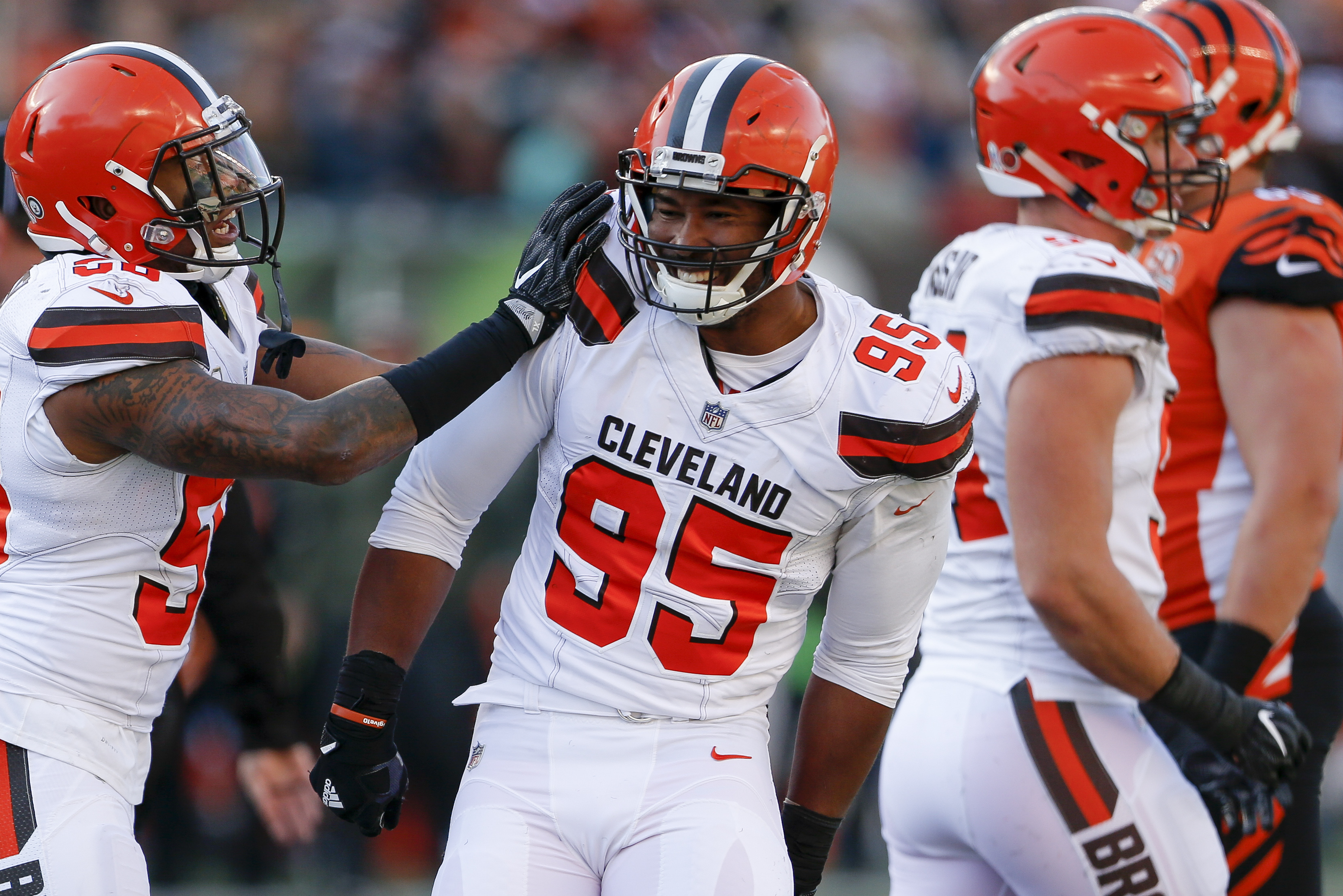 Cleveland Browns defensive end Myles Garrett (95) celebrates after sacking Cincinnati Bengals quarterback Andy Dalton in the first half of an NFL football game, Sunday, Nov. 26, 2017, in Cincinnati. (AP Photo/Gary Landers)