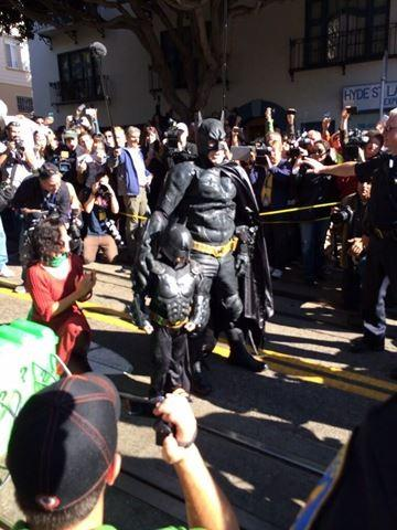 He made it! Batkid rescues the damsel in distress!
