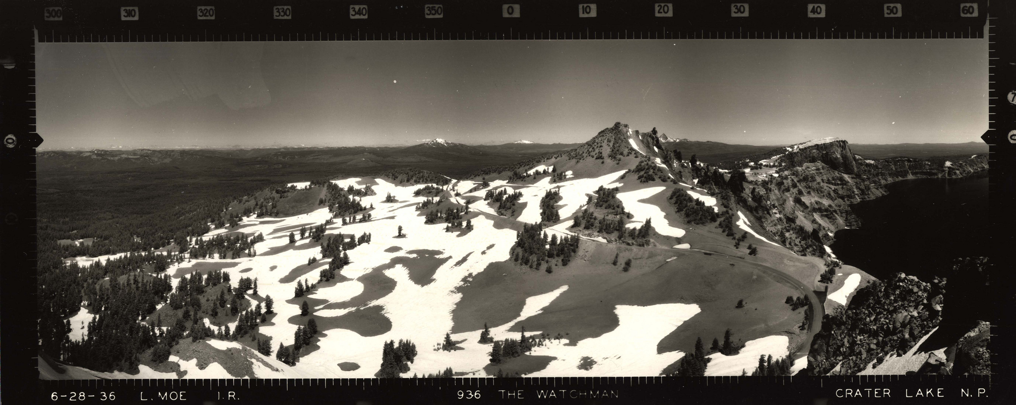 Panoramic view from the Watchman Lookout in Crater Lake National Park. Photographed by Lester M. Moe (USFS) 06/28/1936.    Credit: Courtesy CRLA Museum & Archive Collections