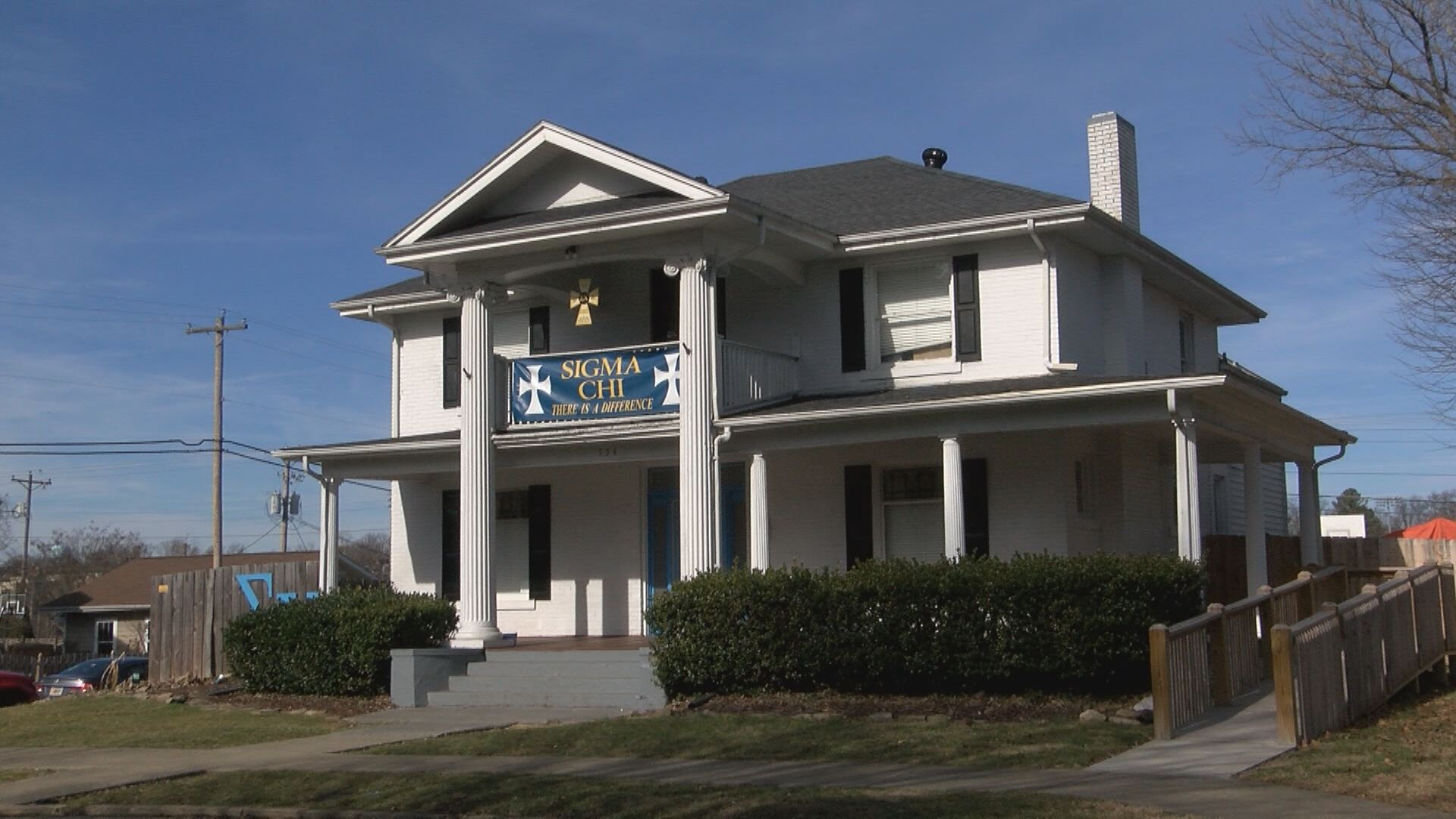 The Sigma Chi house sits in a historic district of Johnson City, one of the few fraternity houses remaining there. (Thomas Gray/WCYB)