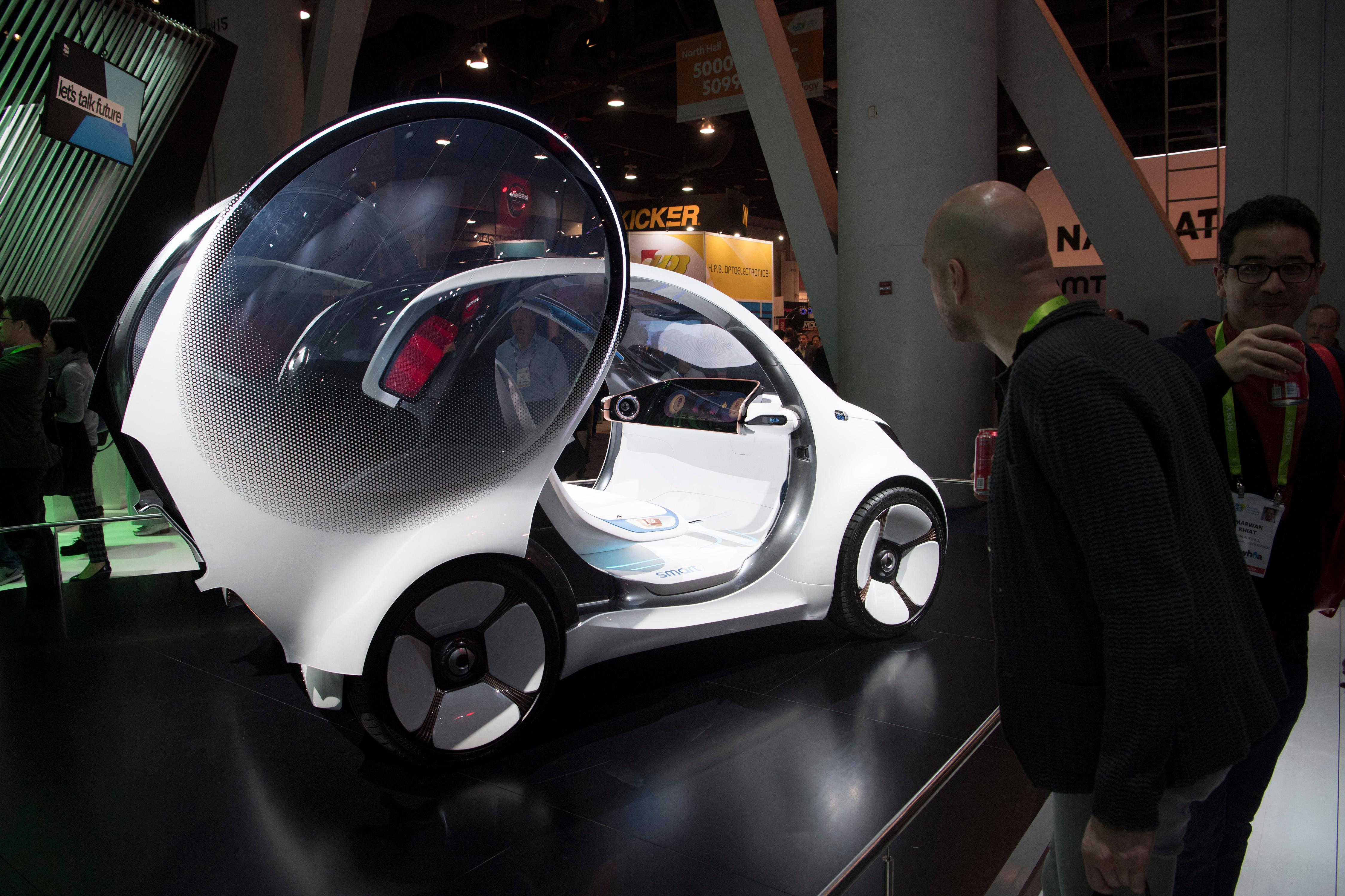 An electric, autonomous Mercedes smart car concept vehicle is seen during the second day of CES Wednesday, January 10, 2018, at the Las Vegas Convention Center. CREDIT: Sam Morris/Las Vegas News Bureau