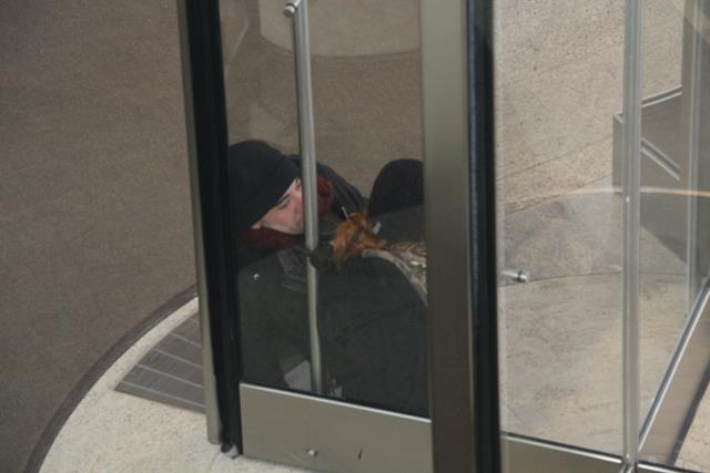 Two activists with Great Plains Tar Sands Resistance (GPTSR) and Cross Timbers Earth First! locked themselves inside a revolving door at the Devon Tower.
