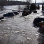 Crews work to free cars from ice in Hallowell