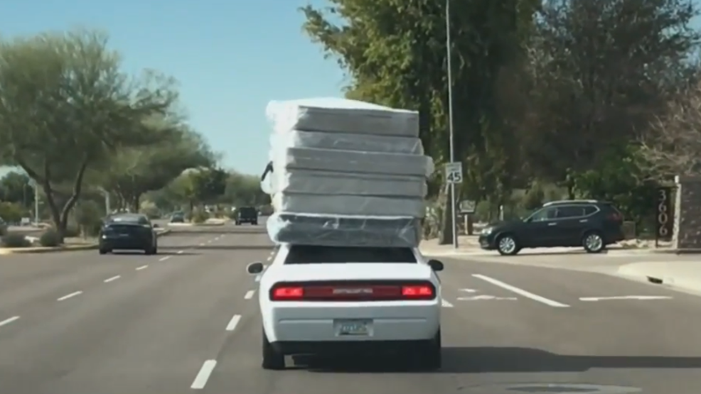 Video Of Car With Six Mattresses Tied On Top Going Viral