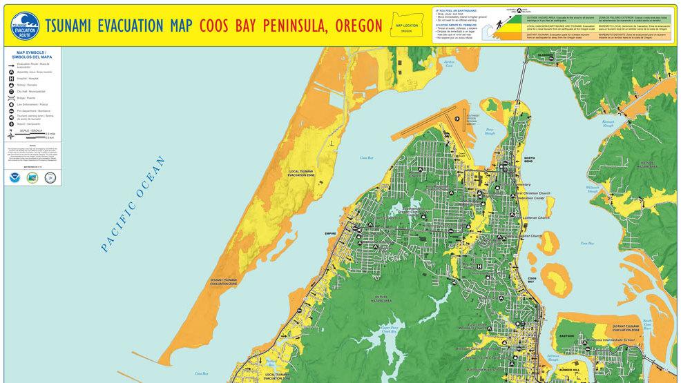 Tsunami evacuation maps for Lane, Douglas, Coos and Curry