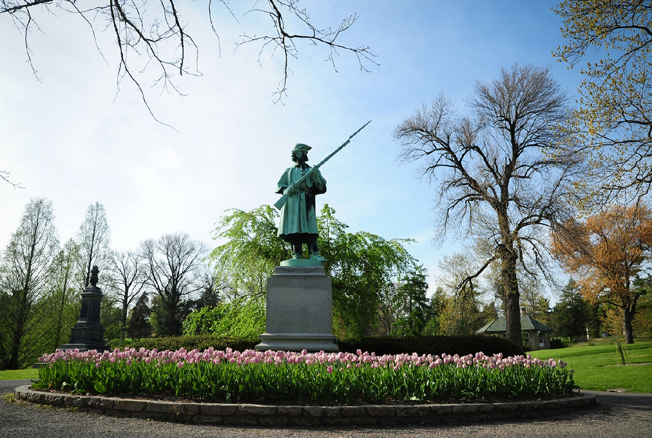 The Soldier's Monument (a.ka. The Sentinel) was cast in bronze by Ferdinand von Miller's Foundry, which also did the bronze cast of the Tyler Davidson Fountain (a.k.a. The Genius of Water statue in Fountain Square). / Image: Melissa Doss Sliney