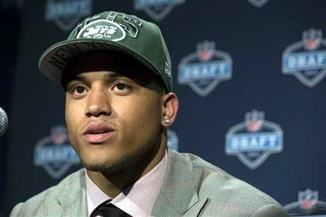 Dee Milliner from Alabama speaks during a news conference after being selected ninth overall by the New York Jets in the first round of the NFL football draft, Thursday night.