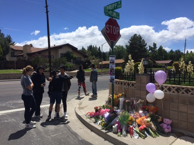 Several people gathered on Sunday, June 11, at a memorial set up for a 15-year-old girl who died after a vehicle struck her on Plumb Lane on Friday night .