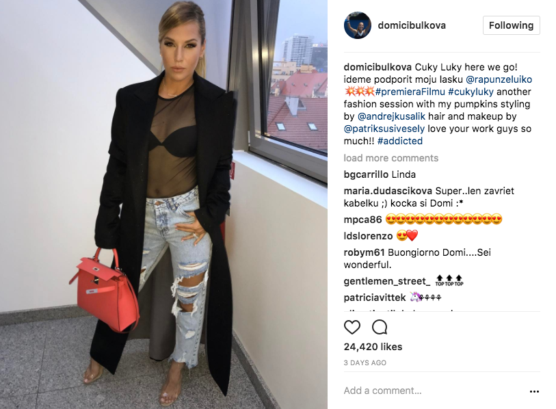 "Dominika Cibulkova stuns in her stylish off-court look for ""Cuky Luky"" film."