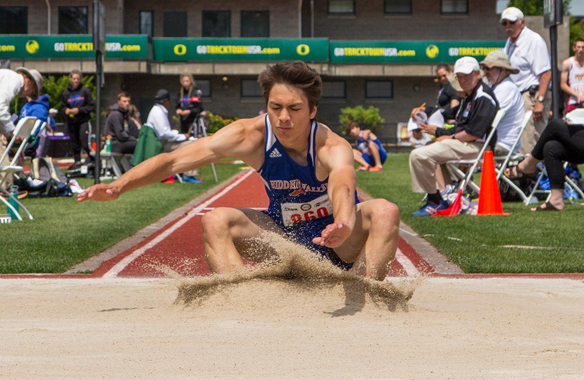 Elijah Castro of Hidden Valley High School wins the Boys Triple Jump 4A with a distance of 43-03.25 at the OSAA Track and Field State Championships at Hayward Field. Photo by Nichole Louchios, Oregon News Lab.