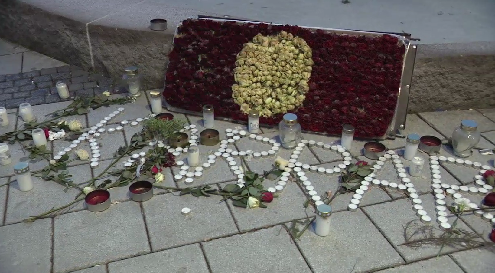 A memorial in the town square of Rinkeby honors a man who was shot and killed a week before Inside Your World arrived in Sweden. (Sinclair Broadcast Group)