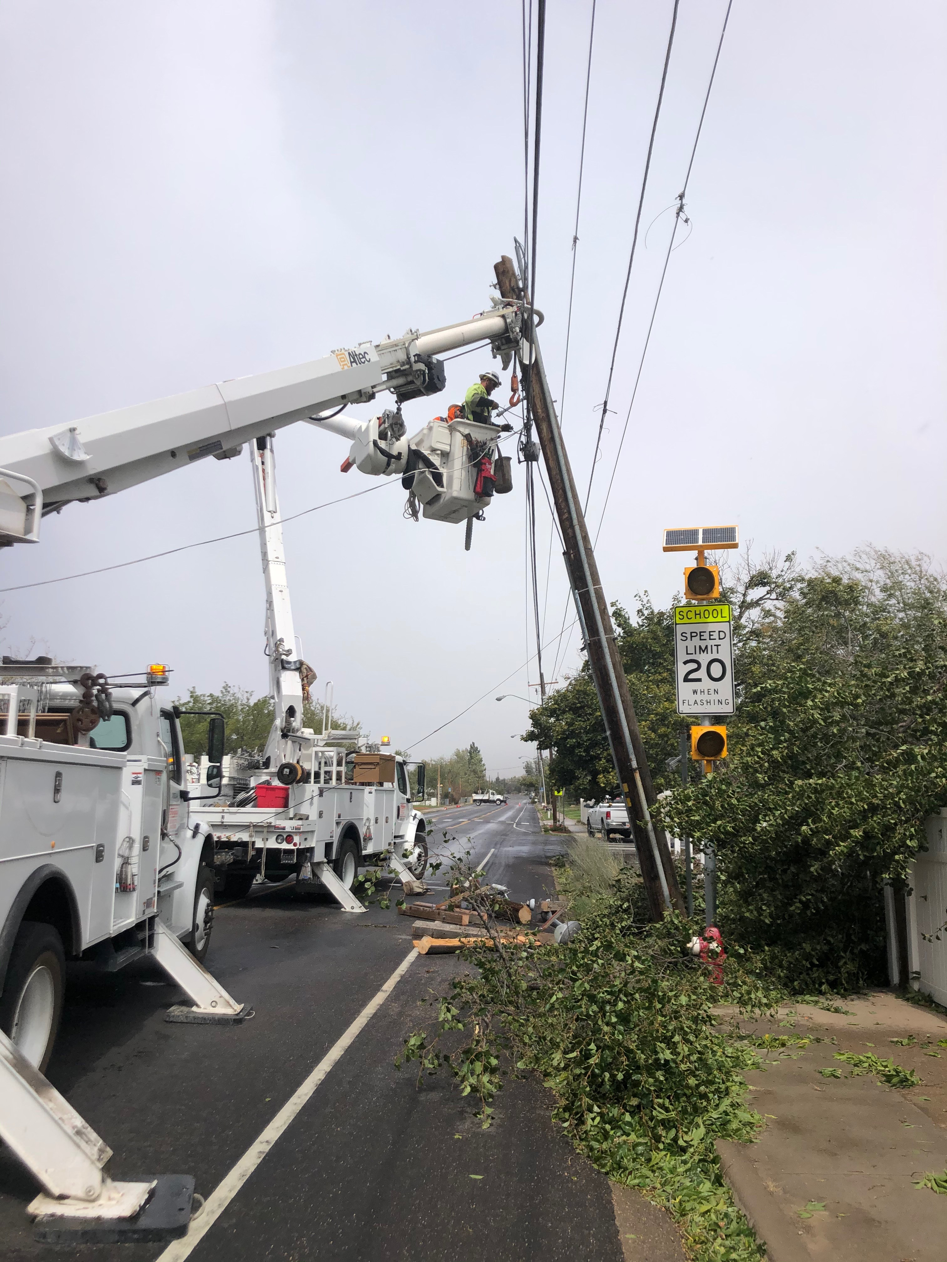 Efforts to restore power to the remaining 40,000 Utahns who lost electricity during a historic windstorm on Tuesday will continue through the weekend. (Photo: Rocky Mountain Power)