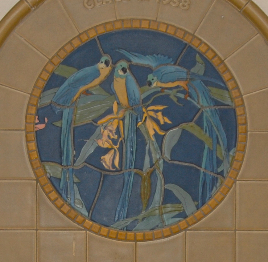 A fountain depicting three blue and yellow tropical birds was donated by the class of 1938. It's located on the third floor in the east (main) corridor. / Image and research by Tim Jeffries // Published: 4.28.19