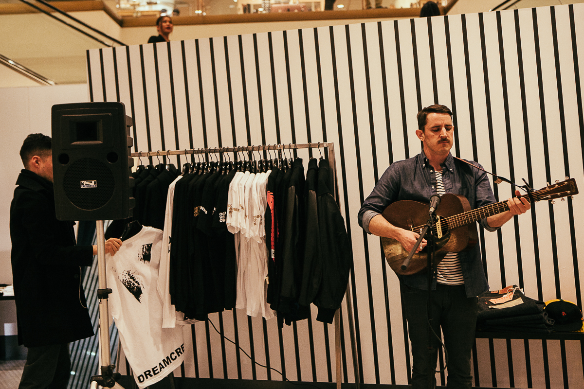 Local Seattle musician, Kris Orlowski, played an intimate acoustic set at the Flagship Nordstrom in downtown Seattle. The performance was part of Nordstrom's Concert Series, which is free and takes place once a month at noon. February 14th 2014. (Joshua Lewis / Seattle Refined)