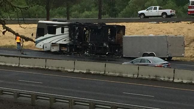 No injuries as RV catches fire on I-5 near Sutherlin; traffic backs up for miles