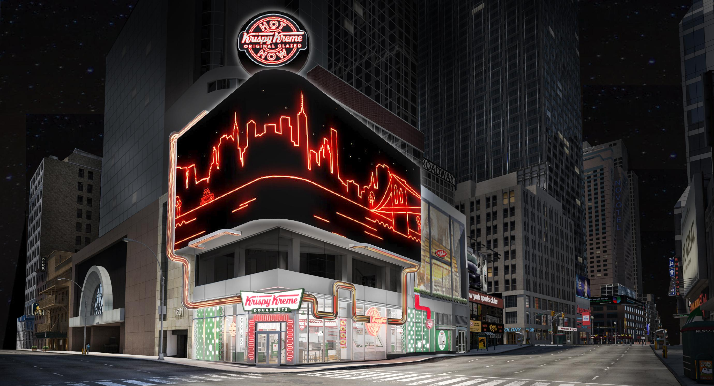 Krispy Kreme Times Square Flagship at Broadway and 48th Street will feature hot, fresh doughnuts 24/7, world's largest Hot Light, new immersive and interactive digital experiences, and exclusive merchandise. (CNN Newsource)