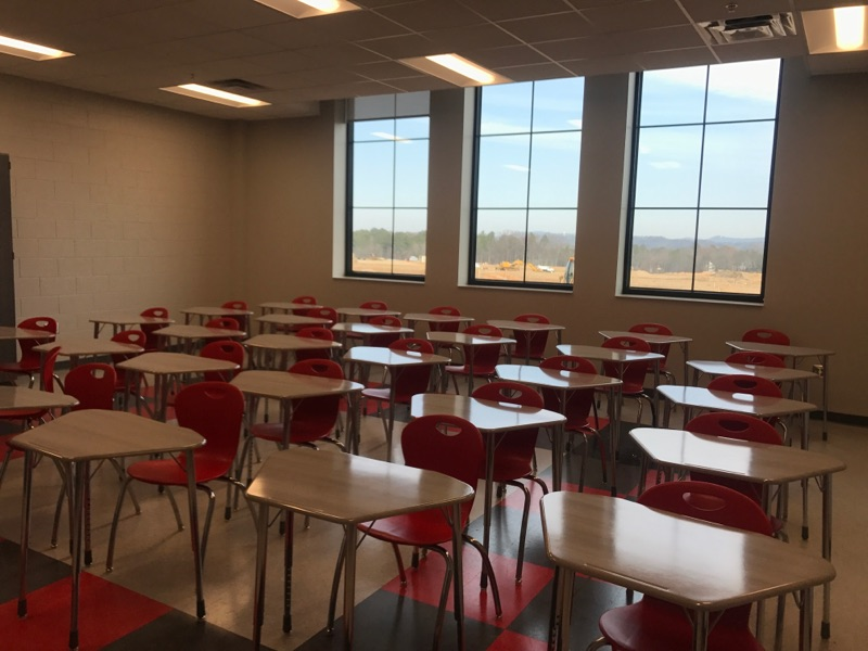 The desks are set inside Alabaster's new Thompson High School.<p></p>
