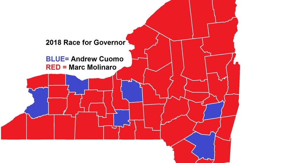 Cuomo won more votes in CNY counties than he did four years ago