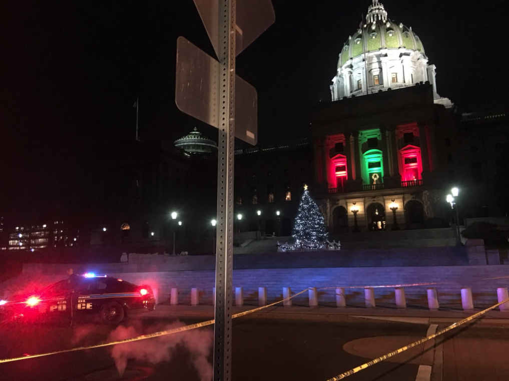 Shots were fired near the Pennsylvania State Capitol Building in Harrisburg on Friday, December 22, 2017. (Photo Credit:{ } Courtney Highfield, @CourtneyCBS21)