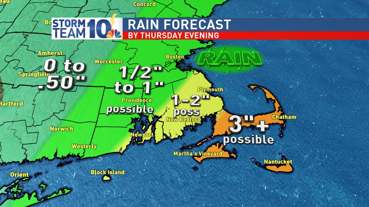 Forecast rain totals through Thursday