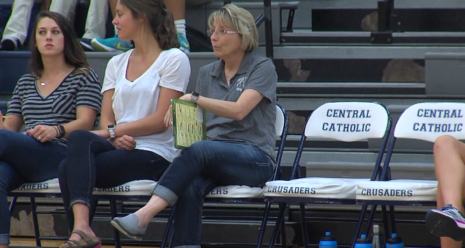 GICC Head Coach Sharon Zavala watches her team play in  a recent scrimmage at Central Catholic. (KHGI)