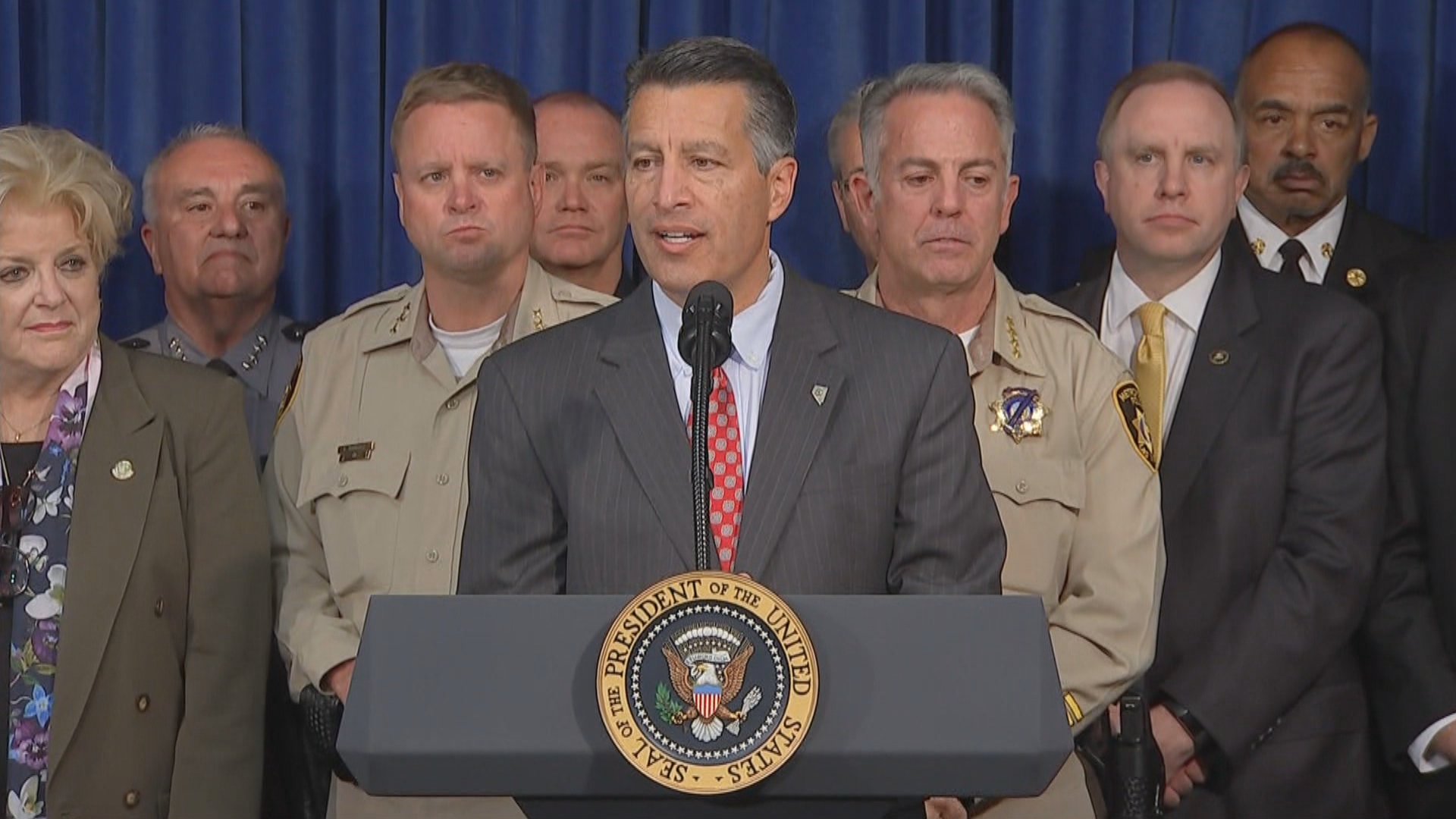 Nevada Gov. Brian Sandoval speaks Wednesday, Oct. 4, 2017, at Las Vegas Metropolitan Police Department headquarters. (KSNV)
