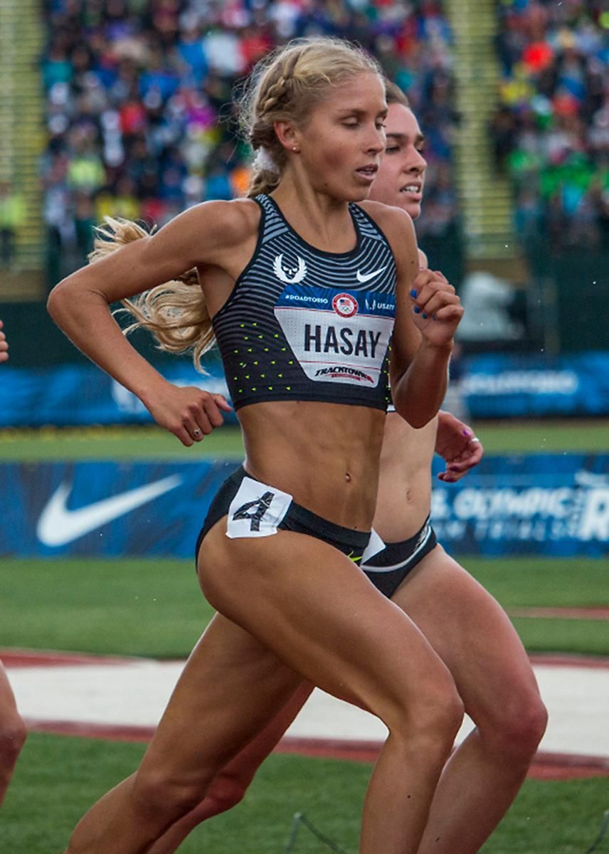 Nike OP Jordan Hasay completes a lap of the women�s 5,000 meter finals. Day Ten of the U.S. Olympic Trials Track and Field concluded on Sunday at Hayward Field in Eugene, Ore. Competition lasted July 1 - July 10. Photo by Katie Pietzold