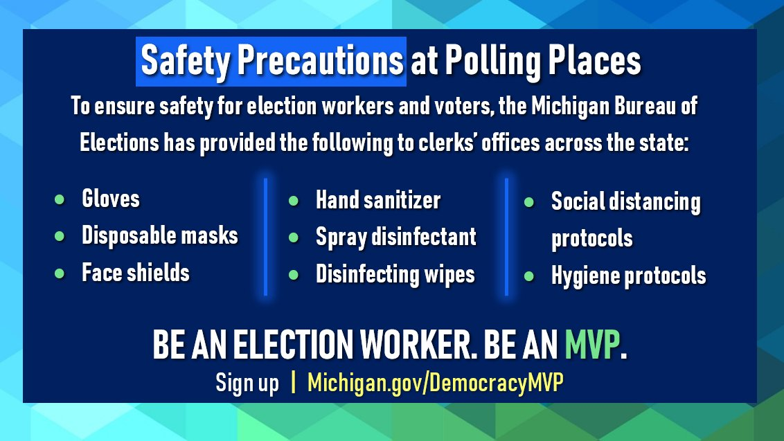 COVID-19 precautions being taken at polling places. (Courtesy: Michigan Department of State)<br>