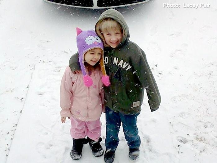 Bentlie Pair and big brother Avery Pair enjoying the snow in Alexandria, Ala., Tuesday, January 28, 2014.
