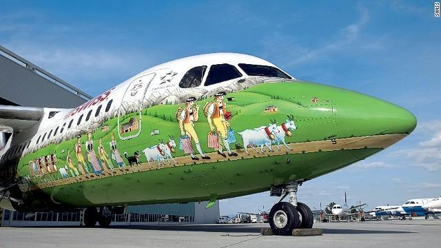 This elaborate Swiss International Airlines livery depicting farmers herding cows through an alpine meadow was unveiled in 2006.