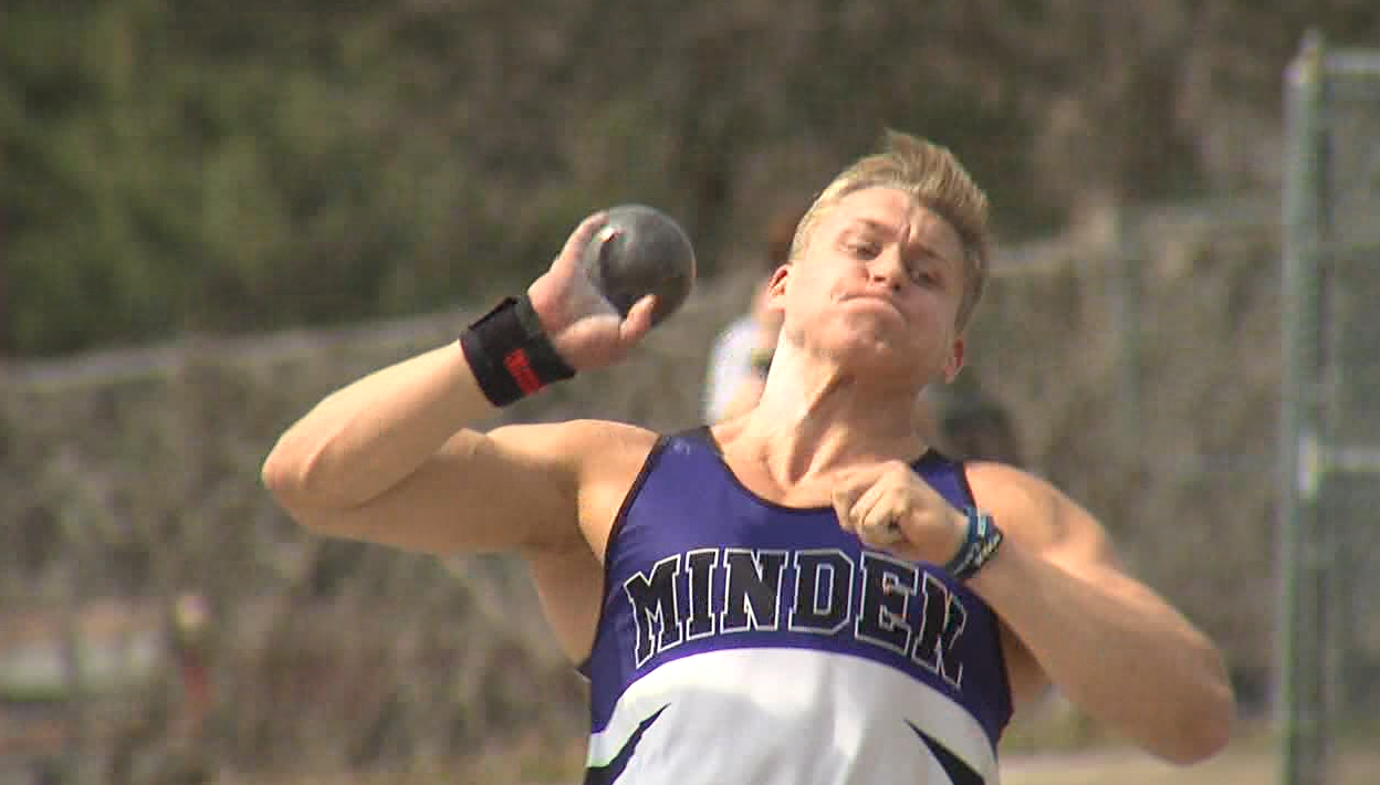 Minden's Tyson McDowell wins the boys shot put with a heave of 49 feet 11.5 inches at the Marsh Beck Invite in Minden, April 13, 2017 (NTV News)