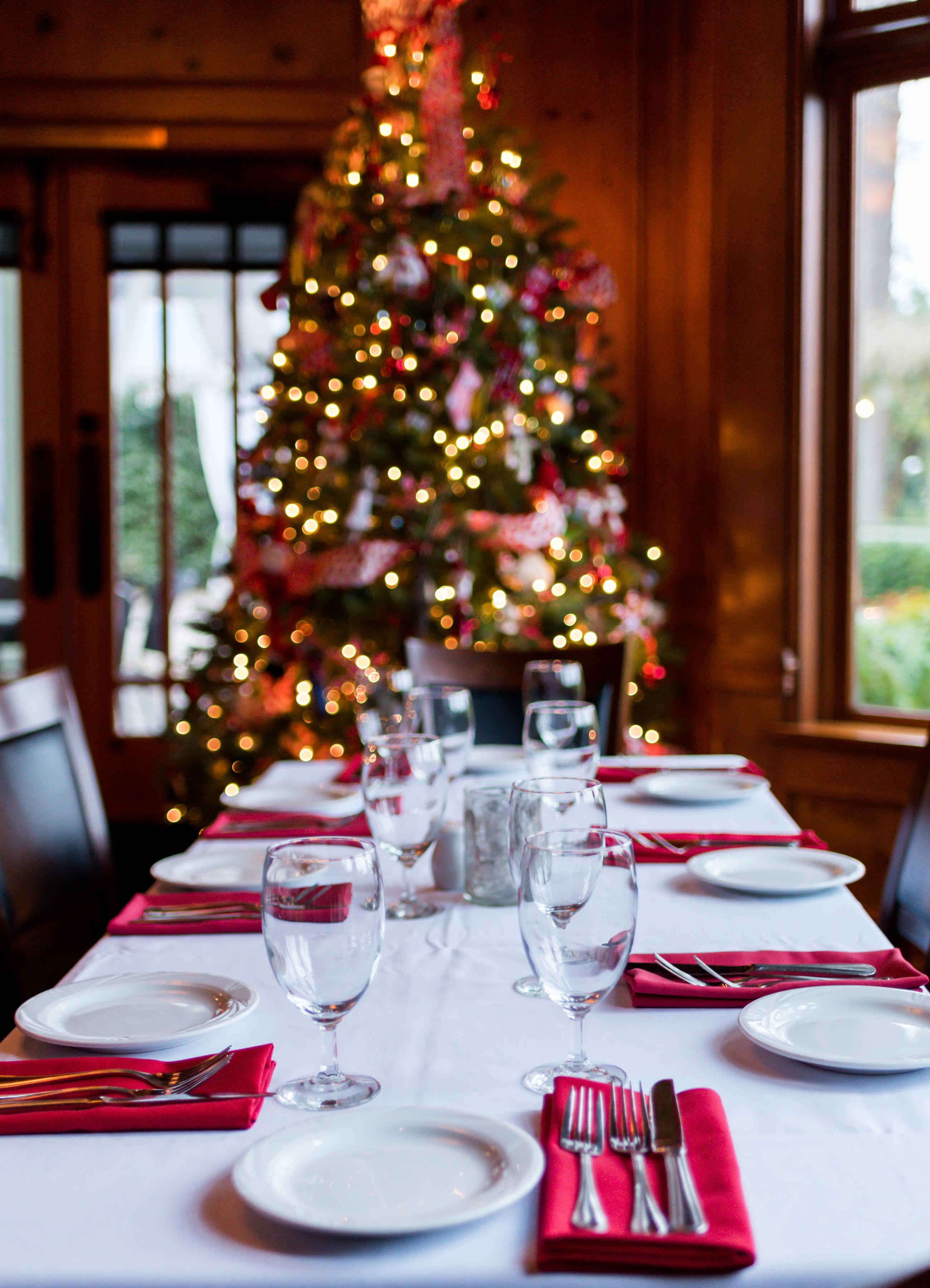 Enjoy a meal by the Christmas tree.
