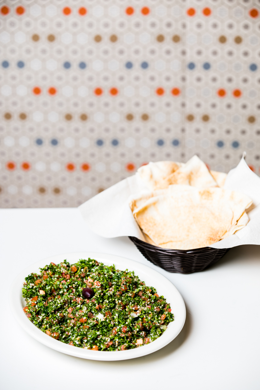 Tabouli: A delicate mixture of chopped parsley, sweet onions, diced tomatoes, bulgur, lemon juice, extra virgin olive oil, and fine herbs. Served with pita. / Image: Amy Elisabeth Spasoff // Published: 7.19.18