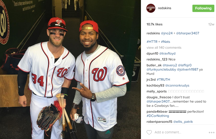 New Redskins sensation, Josh Norman has been quick to take to his new city, spending a lot of time at Nats Park, meeting Bryce Harper and even throwing out a first pitch. (Image: @Redskins Instagram)