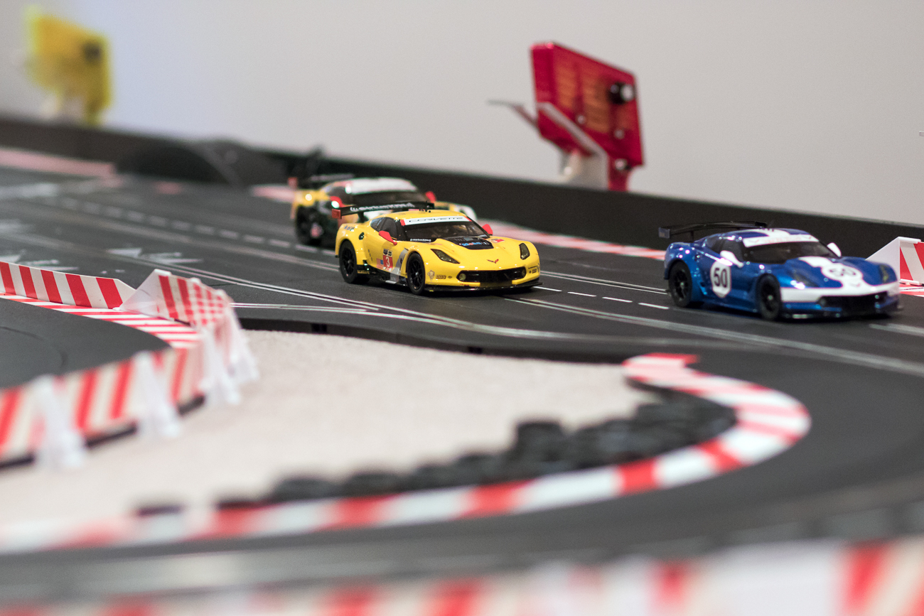 """The slot car track is made by Carrera. And the layout is totally custom for my table,"" said the owner. ""It is controlled digitally and allows six drivers to race on two lanes since there are 10 places on the track which allow the drivers to criss-cross if they need to go around slower traffic. You have to make pit stops for fuel and everything is monitored on a computer. We have two TV screens that show us who is winning and our times on the track. We spend about two hours setting up the cars for best traction to give us an edge over our other competitors. This is not just a big toy, it's a skilled hobby."" / Image: Allison McAdams // Published: 12.19.17"