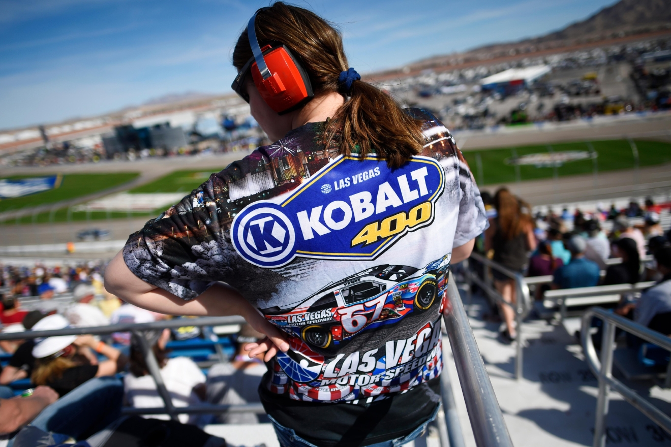 A race fan wears a commemorative shirt during the NASCAR Xfinity Series Boyd Gaming 300 Saturday, March 11, 2017, at the Las Vegas Motor Speedway. (Sam Morris/Las Vegas News Bureau)