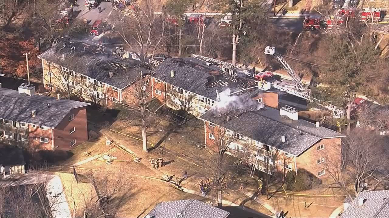 A three-alarm fire tore through three buildings at the complex Friday afternoon. (ABC7)