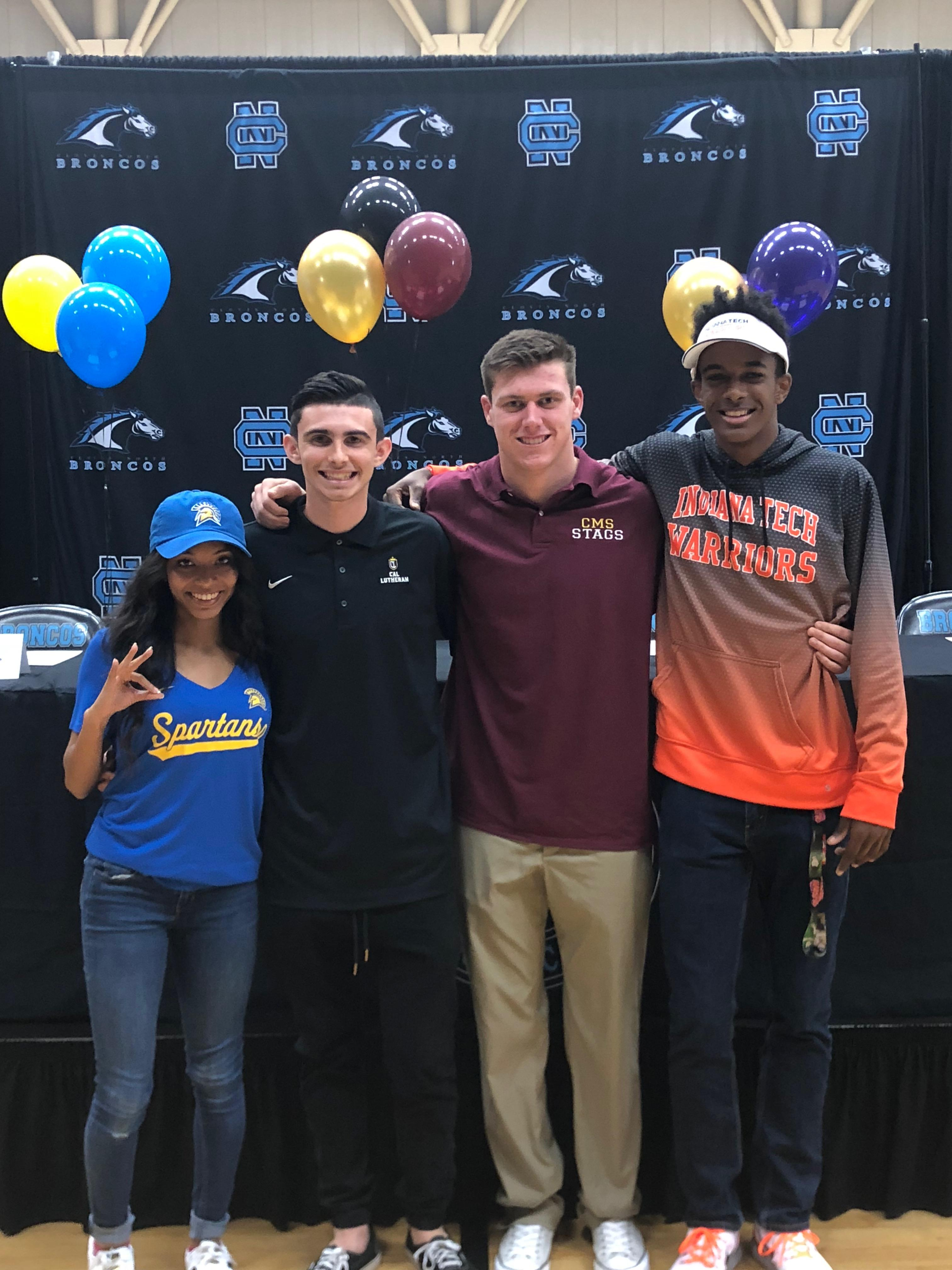 Clovis North student-athletes celebrate signing their letters of intent. From left to right: Hannah Hall, soccer, San Jose State University;{&amp;nbsp;}Mckay Severance, soccer, Cal Lutheran University; Trent Lindsey, football, Claremont McKenna College; Shomari Somerville, track and field, Indiana Institute of Technology.<p></p>