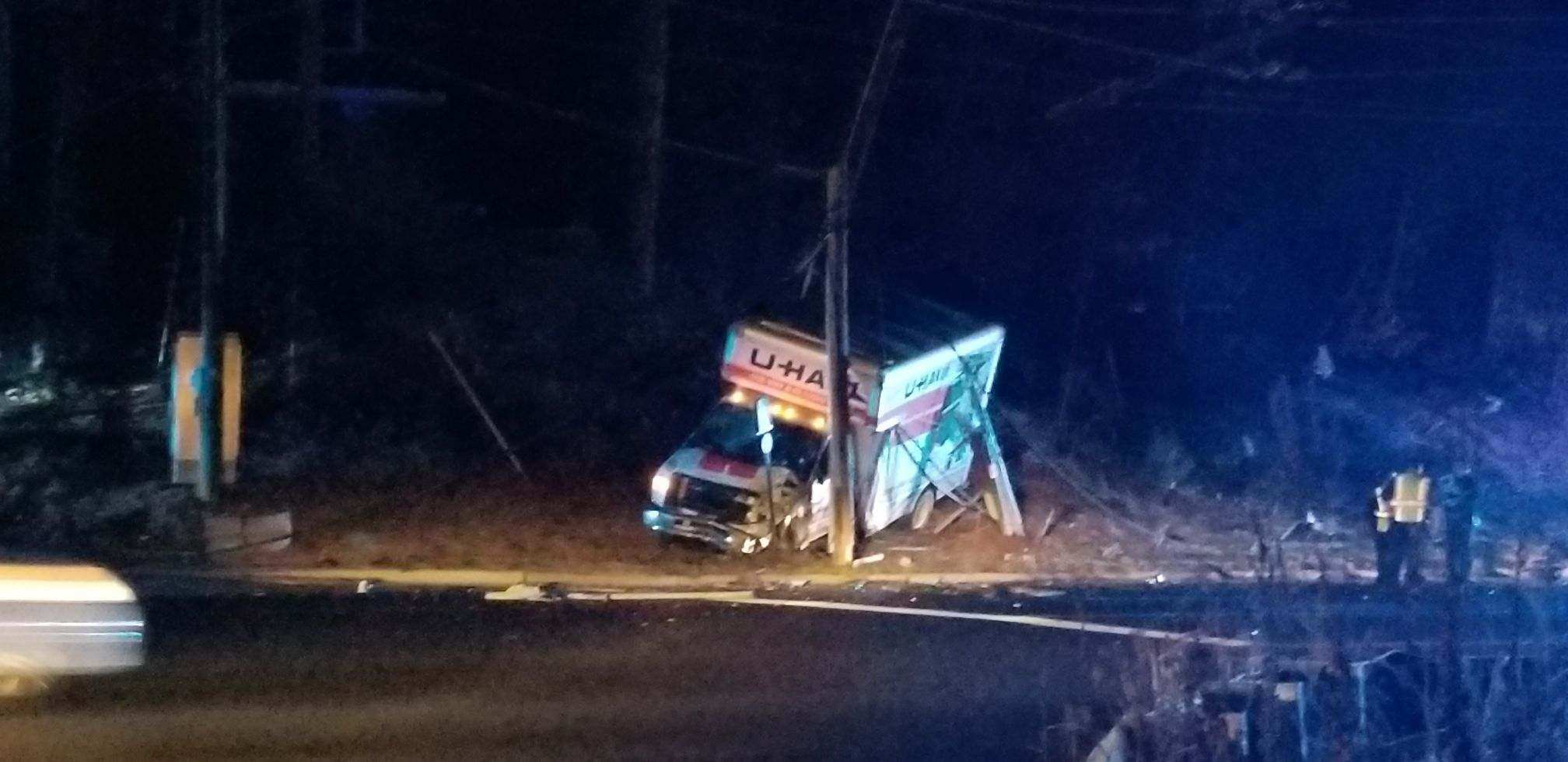 APD: U-Haul truck crashes into utility police. No injuries. (Photo credit: Thomas Cahill)