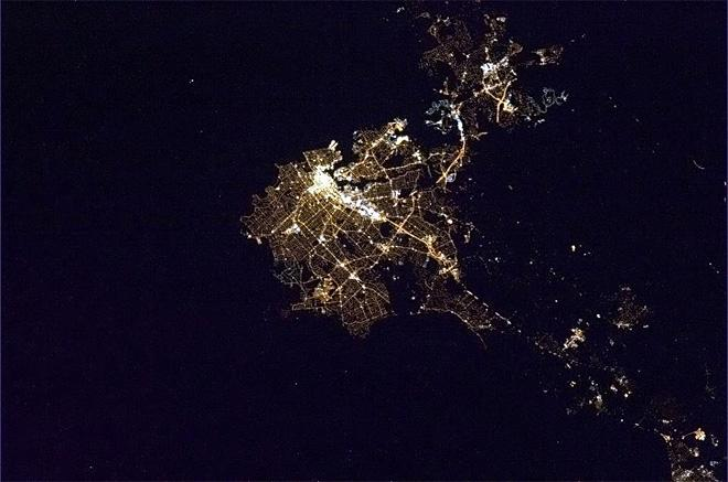 Victoria, capital of BC, finely-veined in the early Easter Sunday morning.  (Photo & Caption: Chris Hadfield/NASA)
